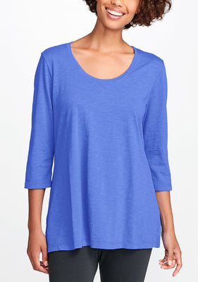 3/4 sleeve tunic blue