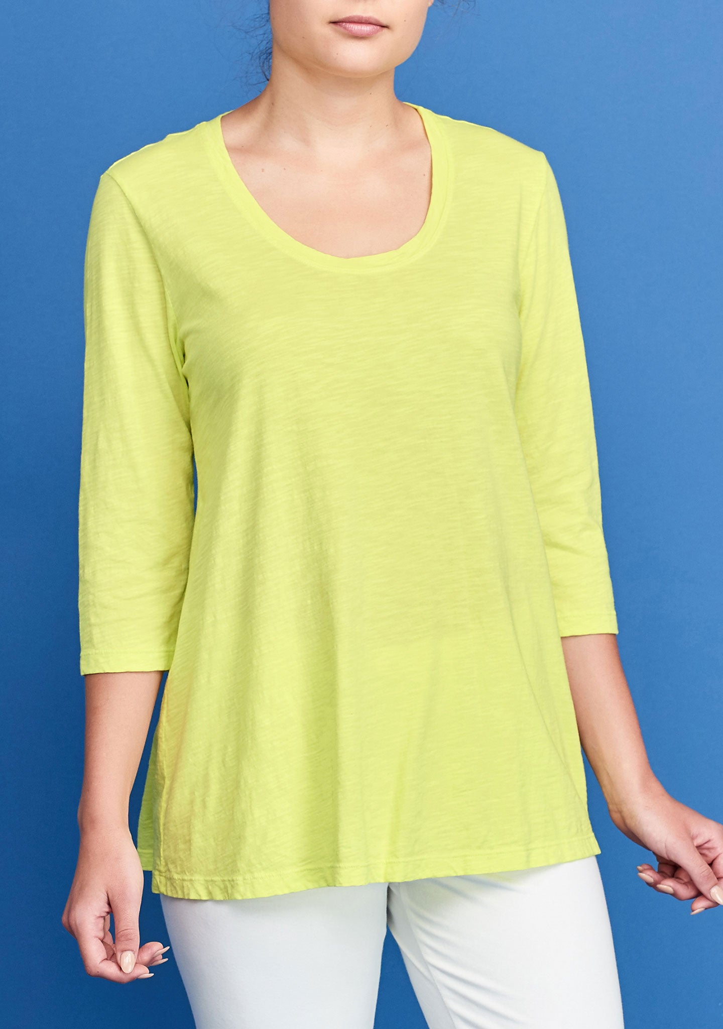 3/4 sleeve tunic yellow