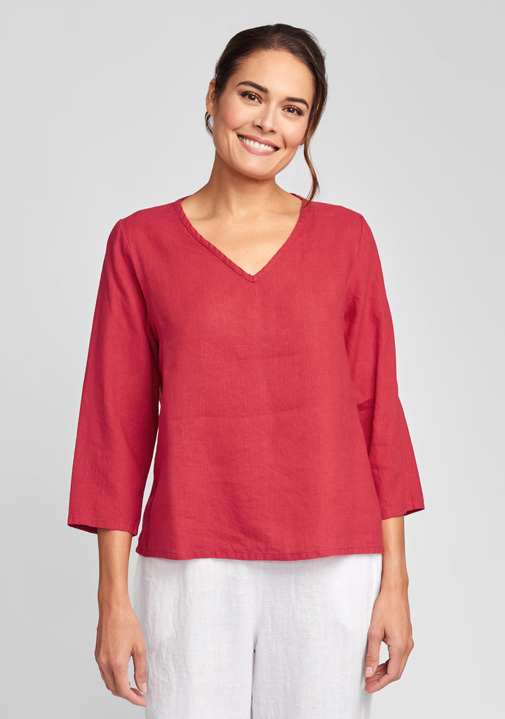 3/4 crop v linen shirt red