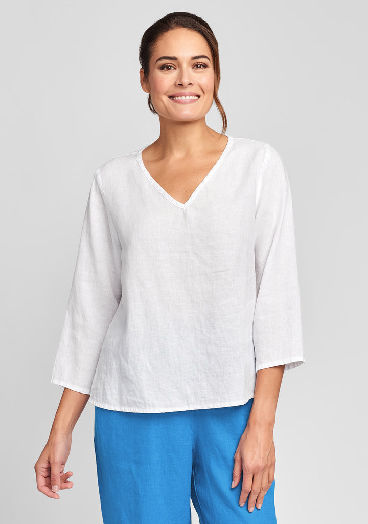 3/4 crop v linen shirt white