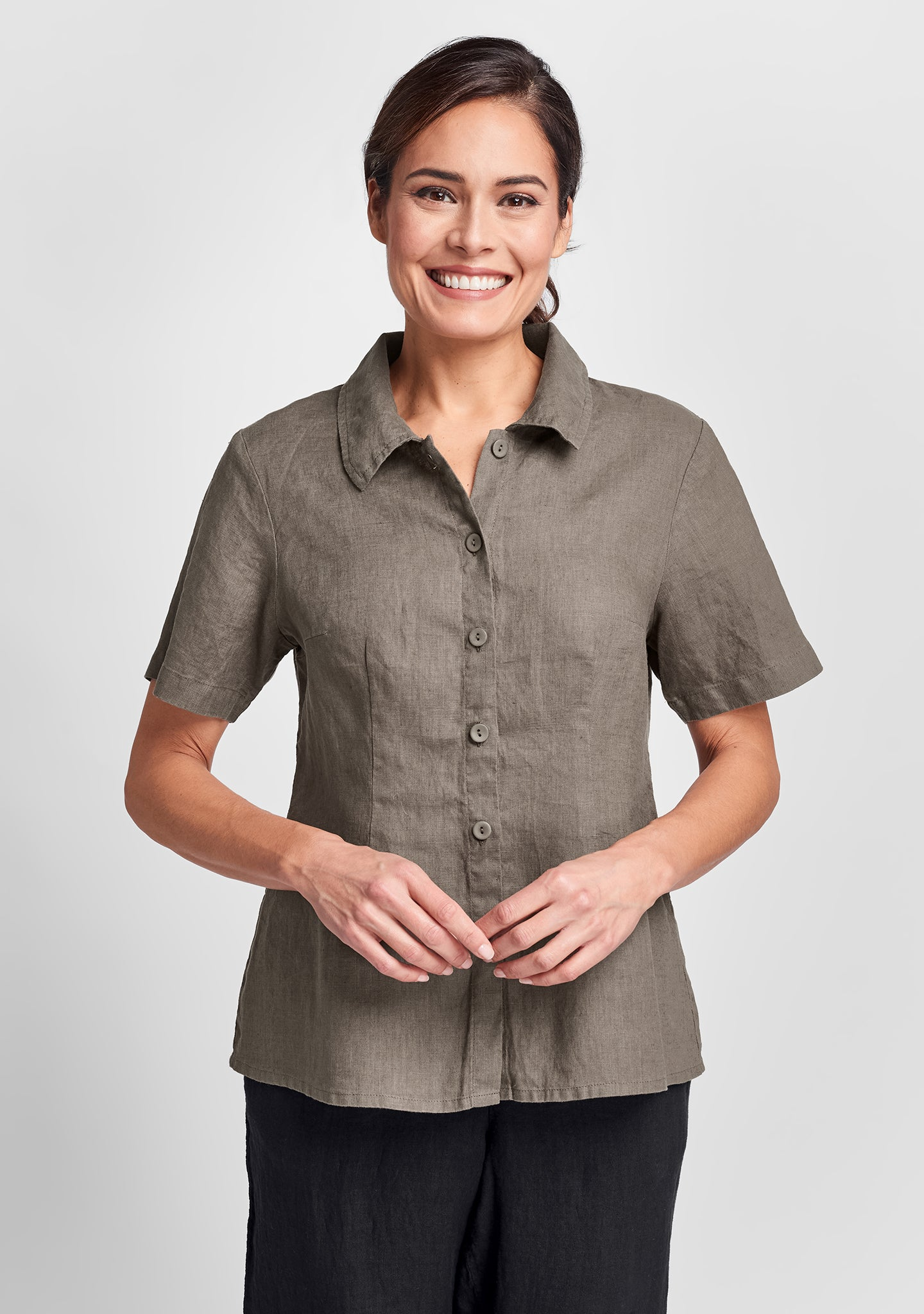 a shapely version linen button down shirt brown