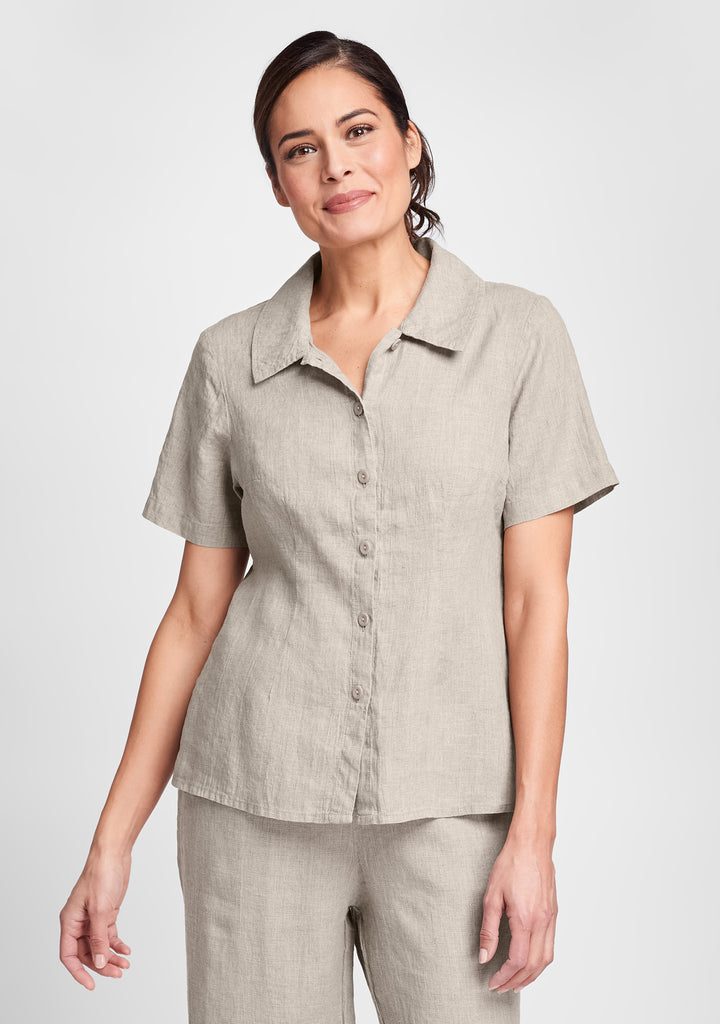 a shapely version linen button down shirt natural