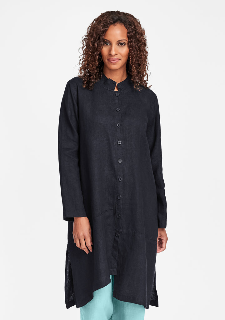 abstract duster linen jacket black