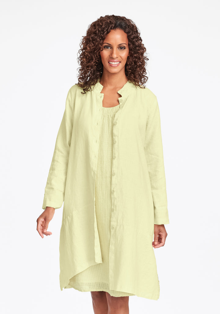 abstract duster linen jacket yellow