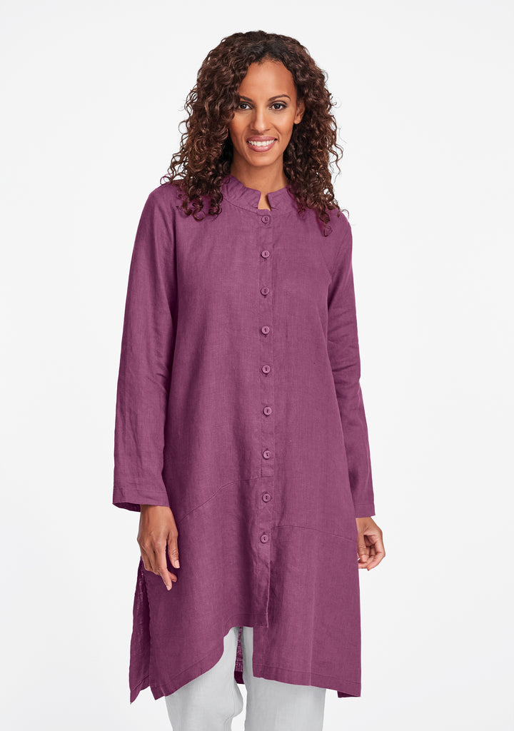 abstract duster linen jacket purple
