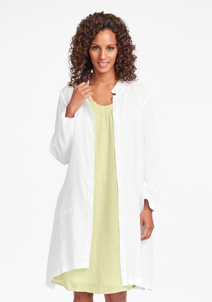 abstract duster linen jacket white