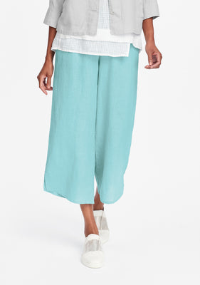 airy floods linen pants with elastic waist blue