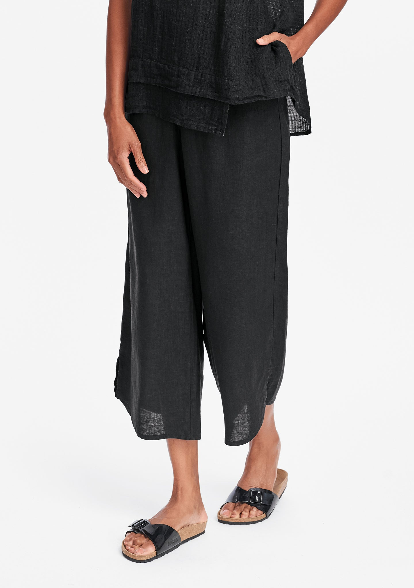 airy floods linen pants with elastic waist black