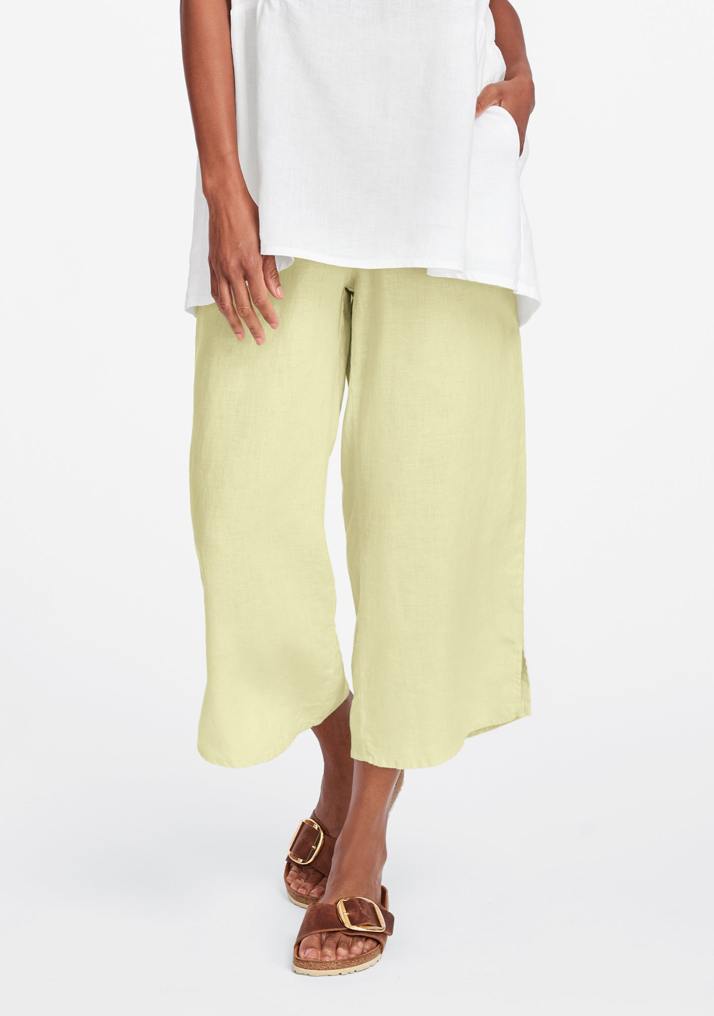 airy floods linen pants with elastic waist yellow