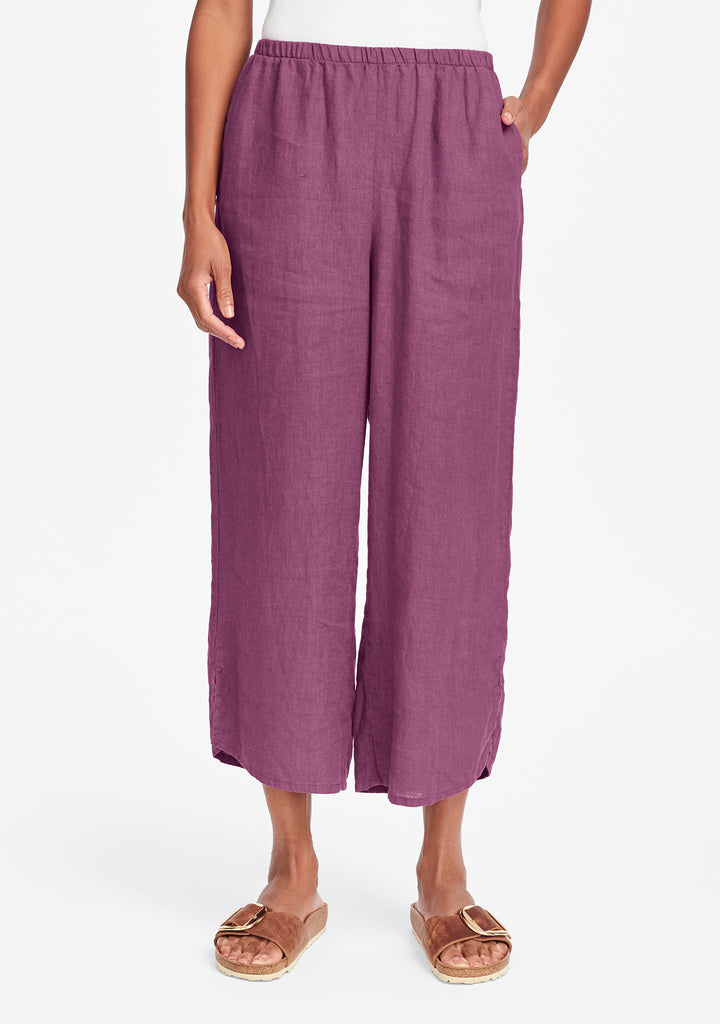 airy floods linen pants with elastic waist purple
