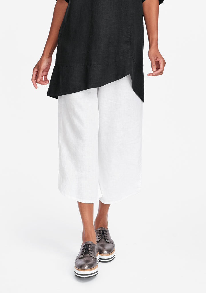 airy floods linen pants with elastic waist white
