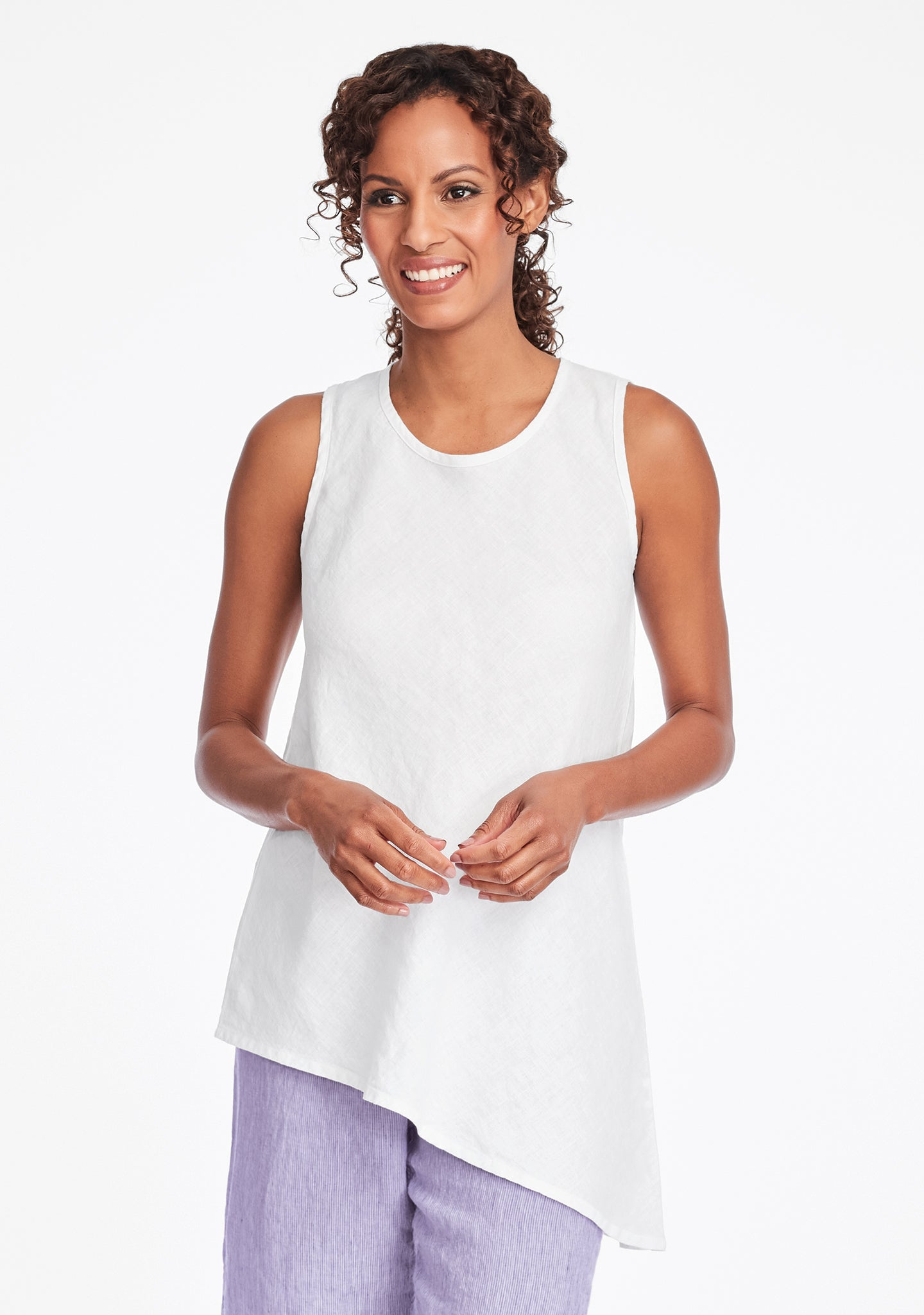 airy tunic linen tank top white