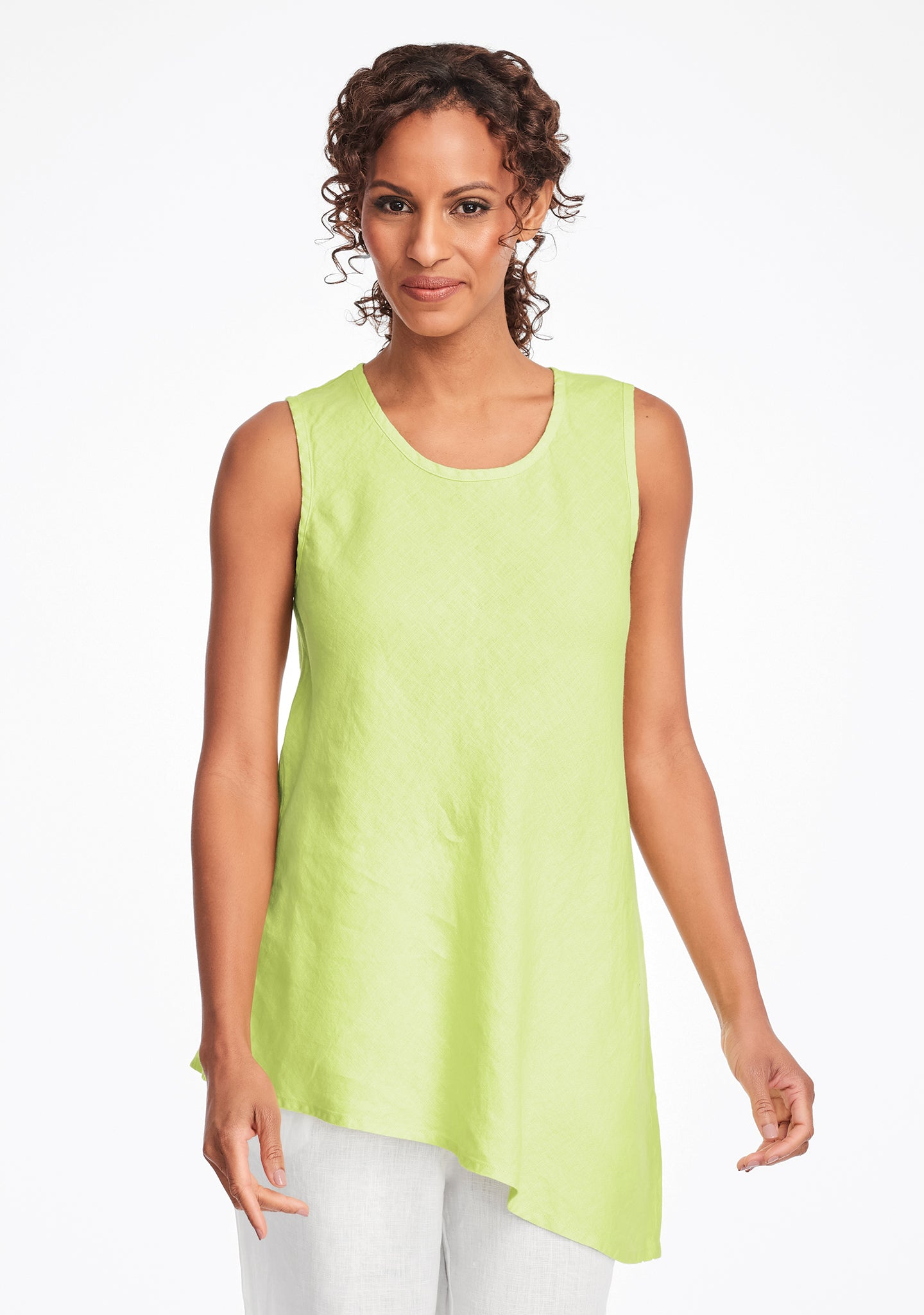 airy tunic linen tank top green
