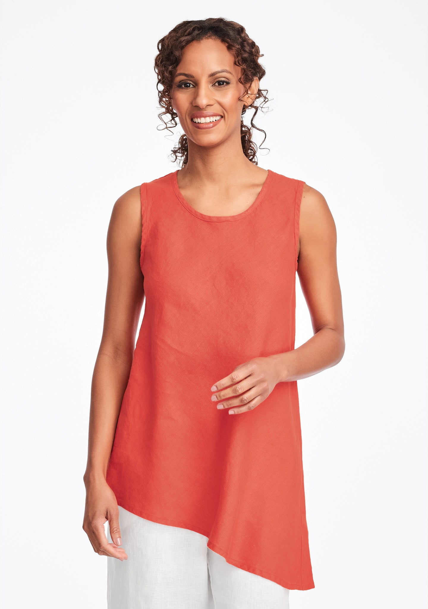 airy tunic linen tank top red