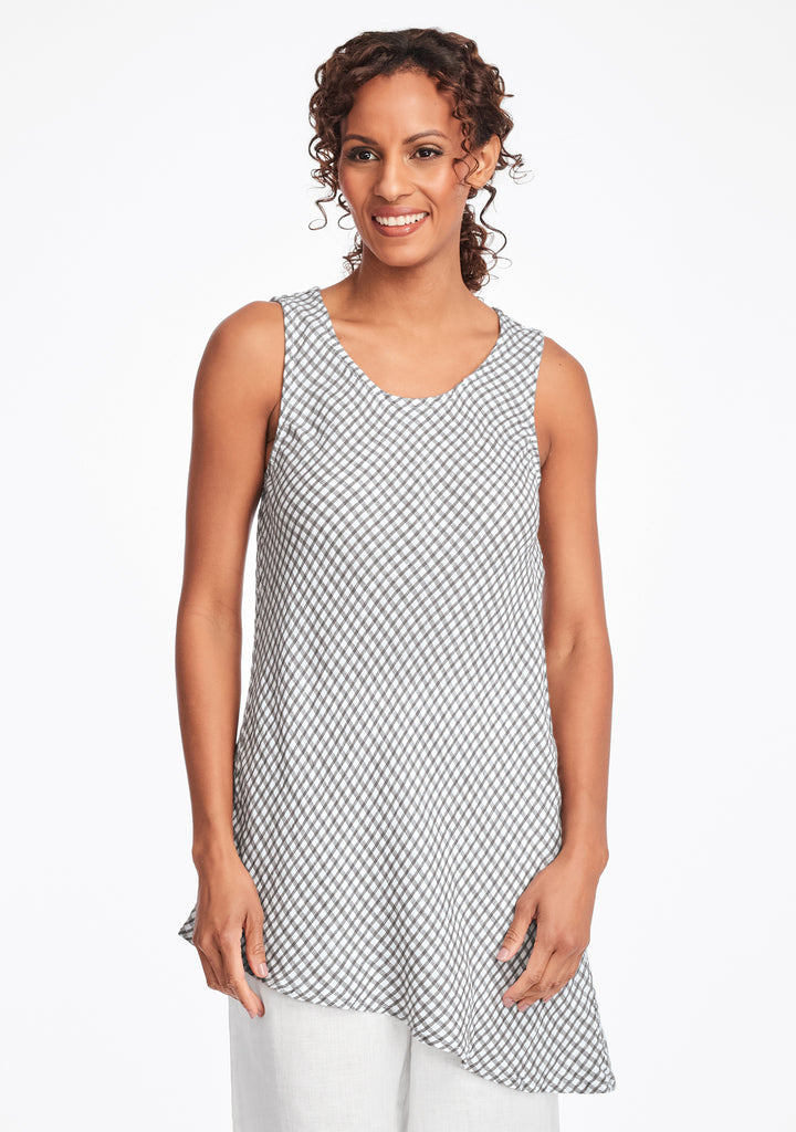 airy tunic linen tank top grey