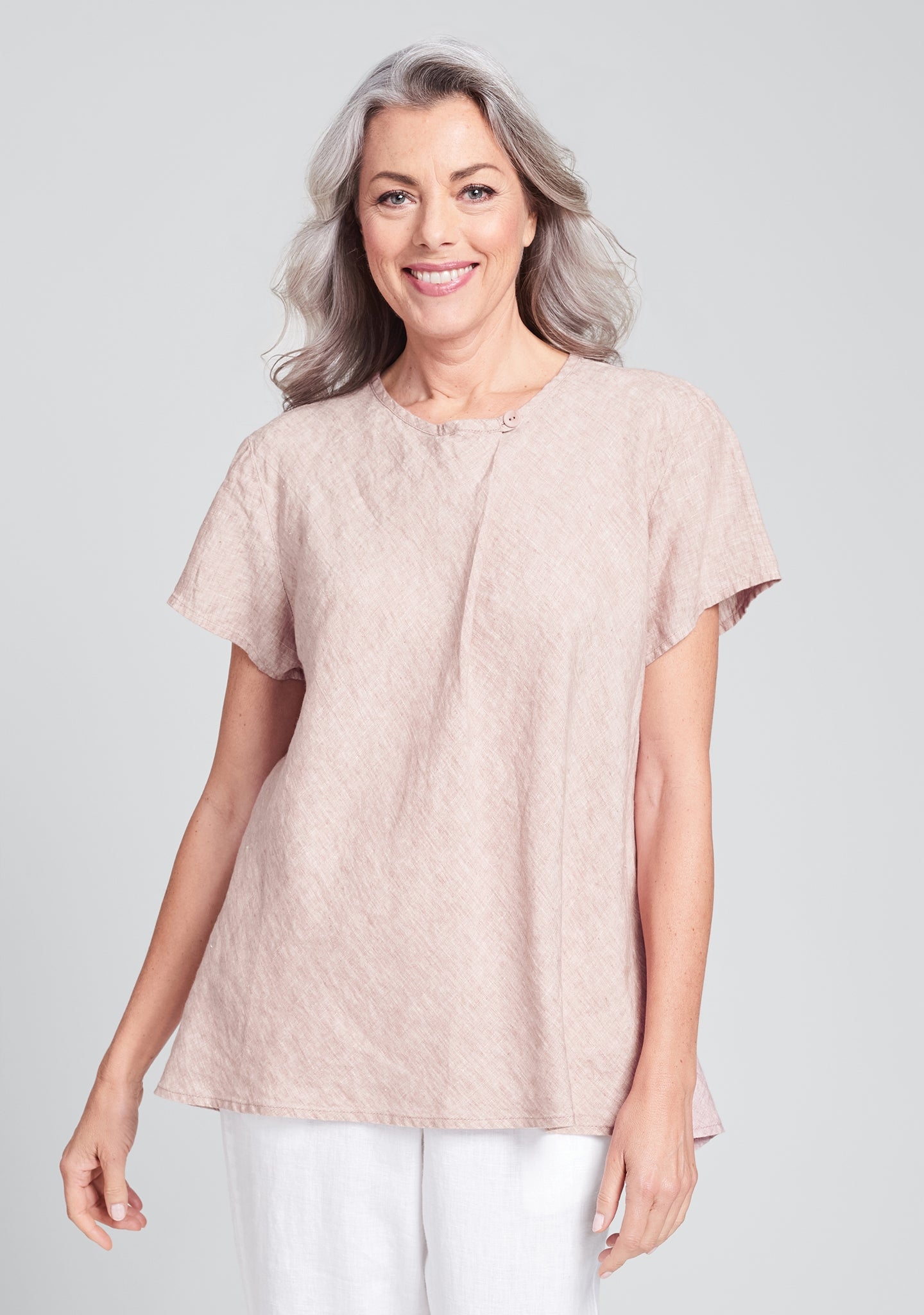 all day top linen shirt pink