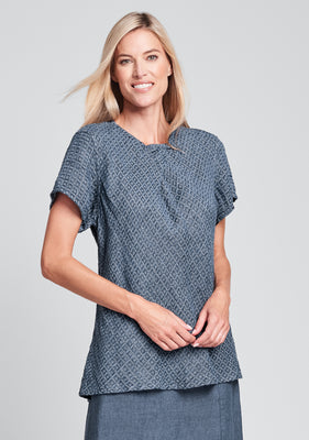 all day top linen shirt blue