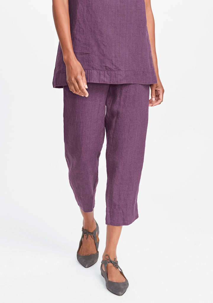 ankle deep linen pants purple
