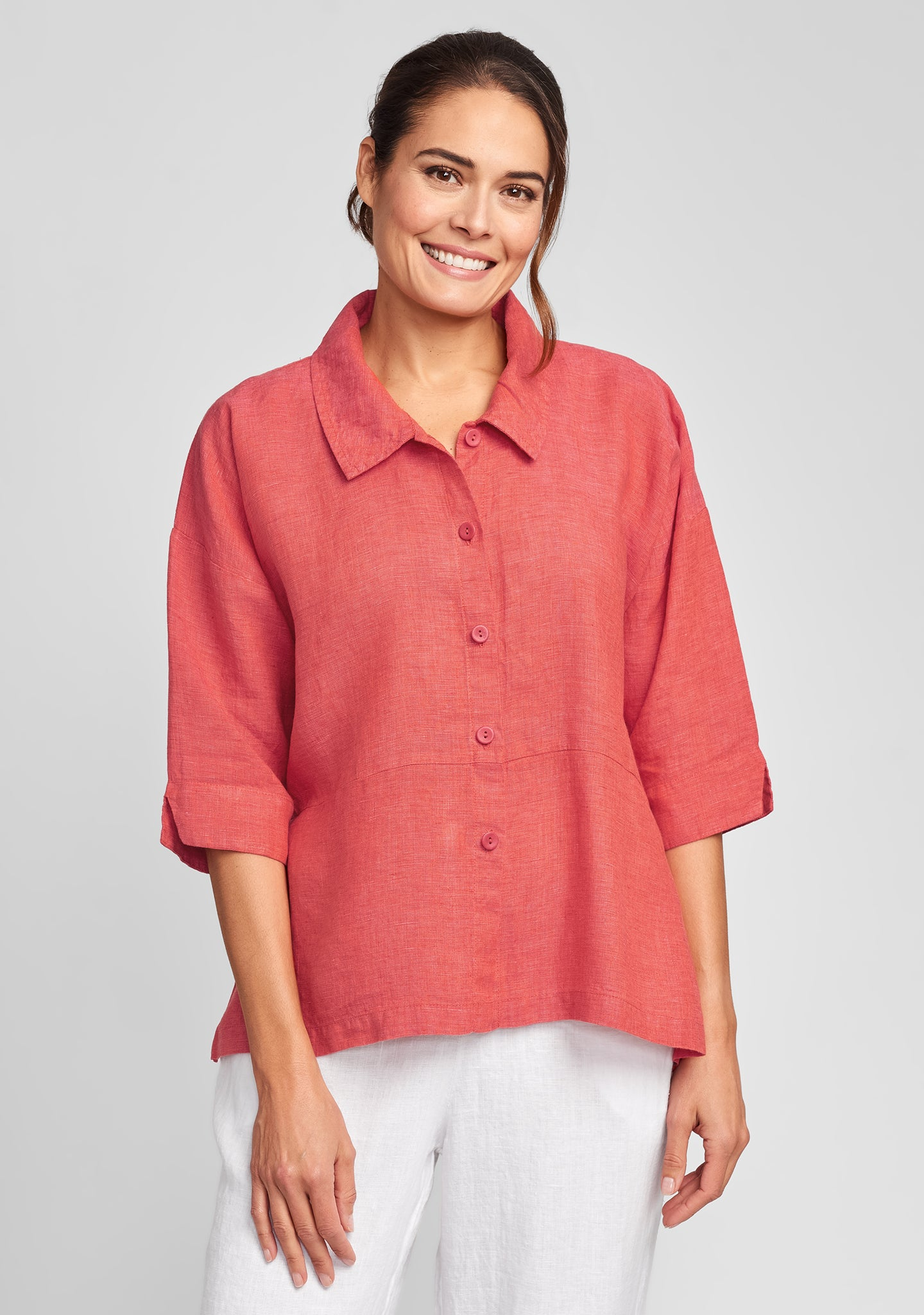 artful blouse linen blouse red