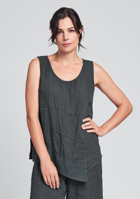 astoria tank linen tank top black