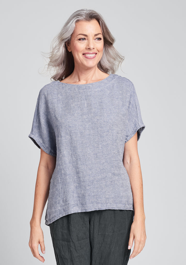 back slit tee linen t shirt blue