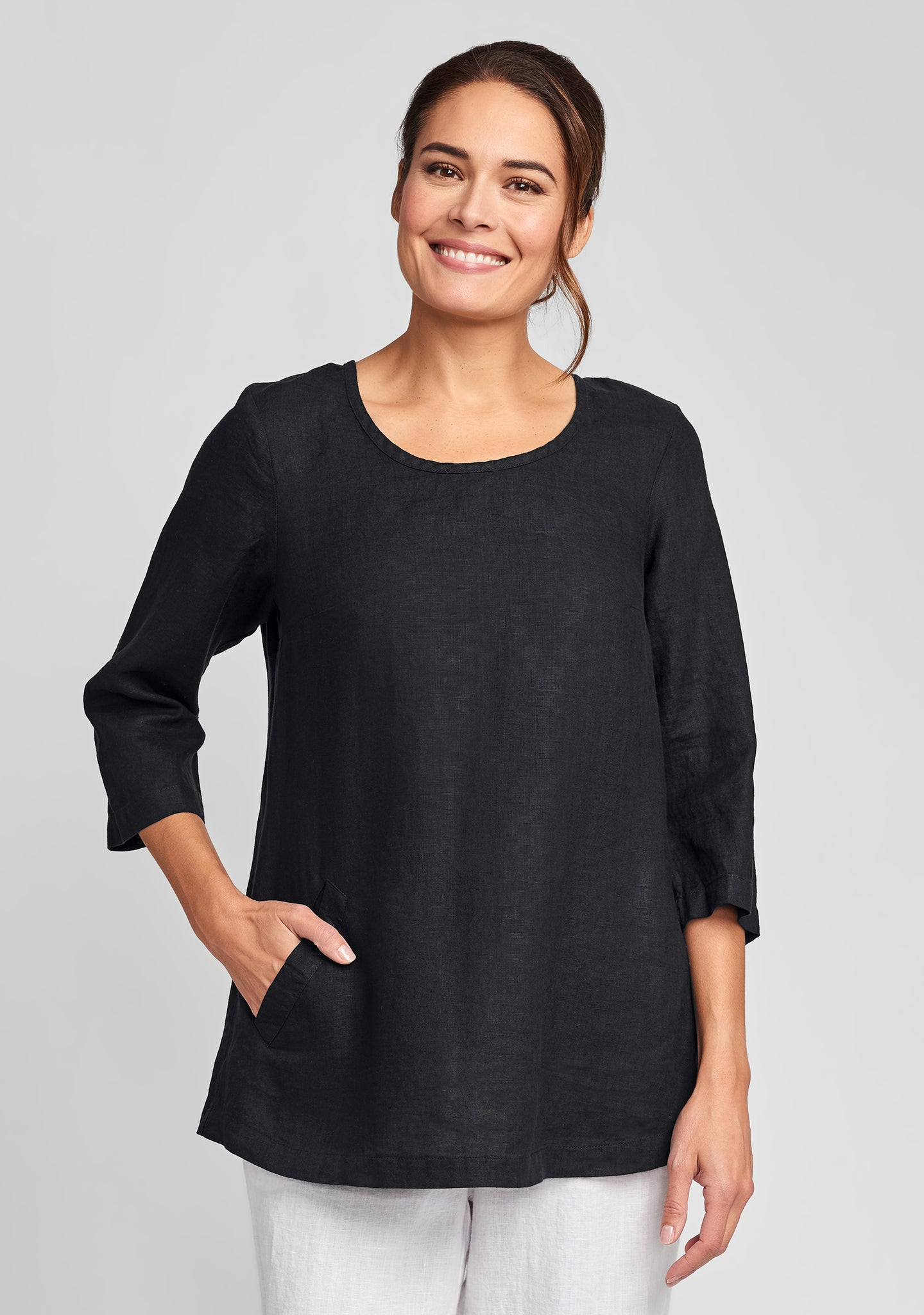 back up tunic linen shirt black