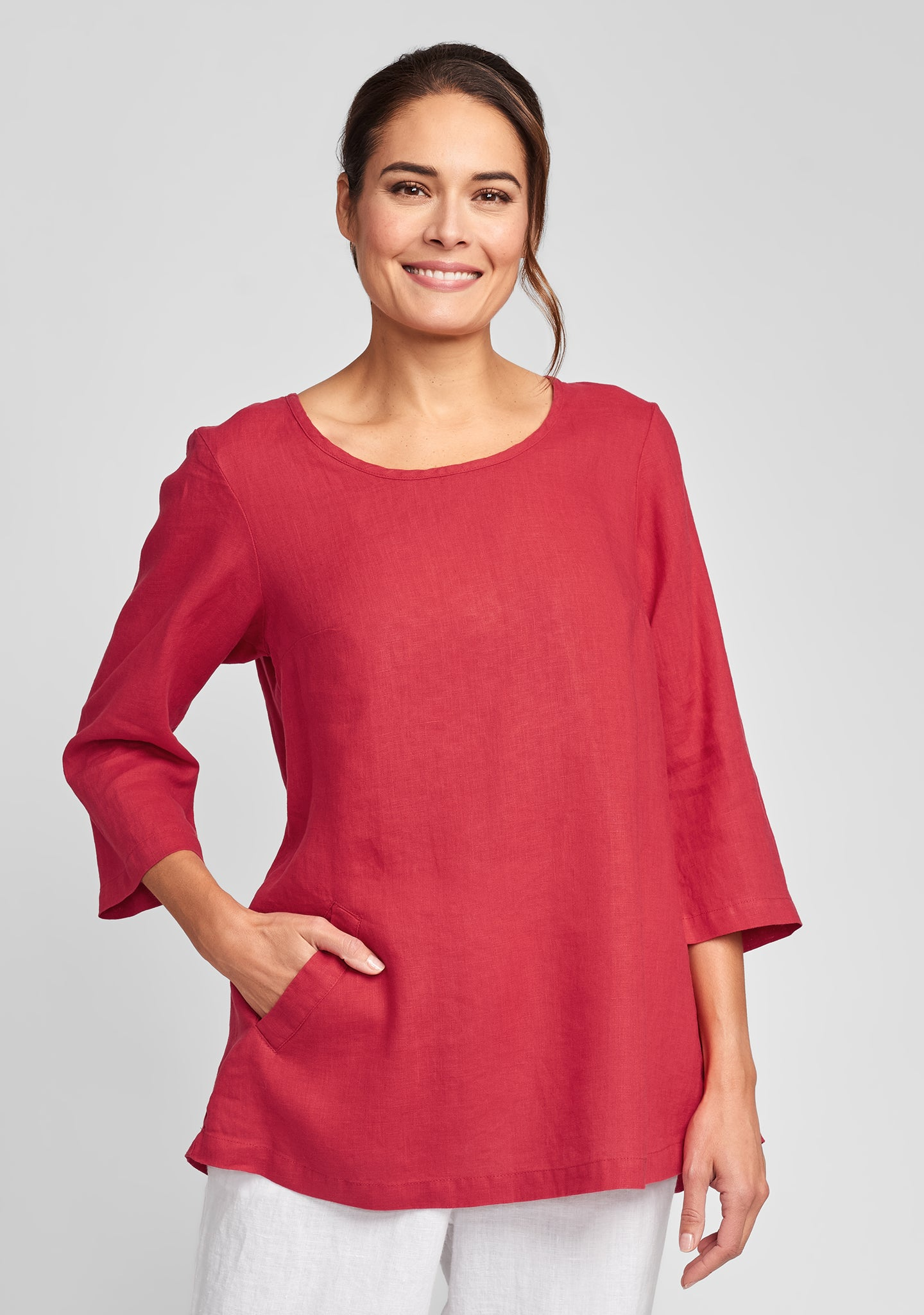 back up tunic linen shirt red