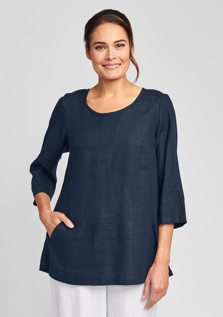 back up tunic linen shirt blue
