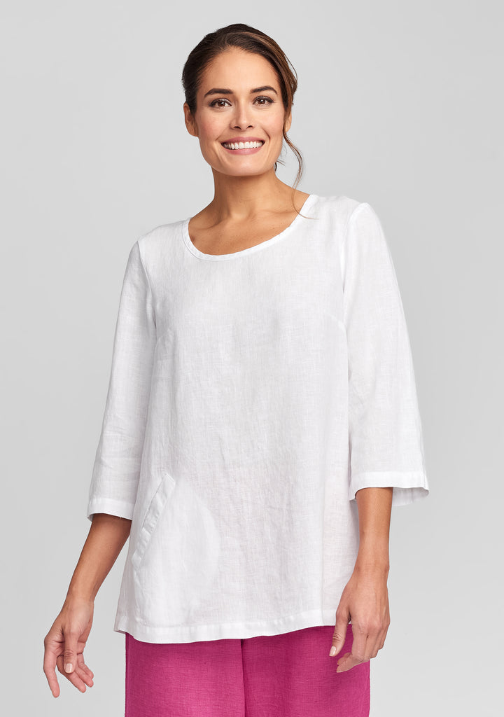 back up tunic linen shirt white