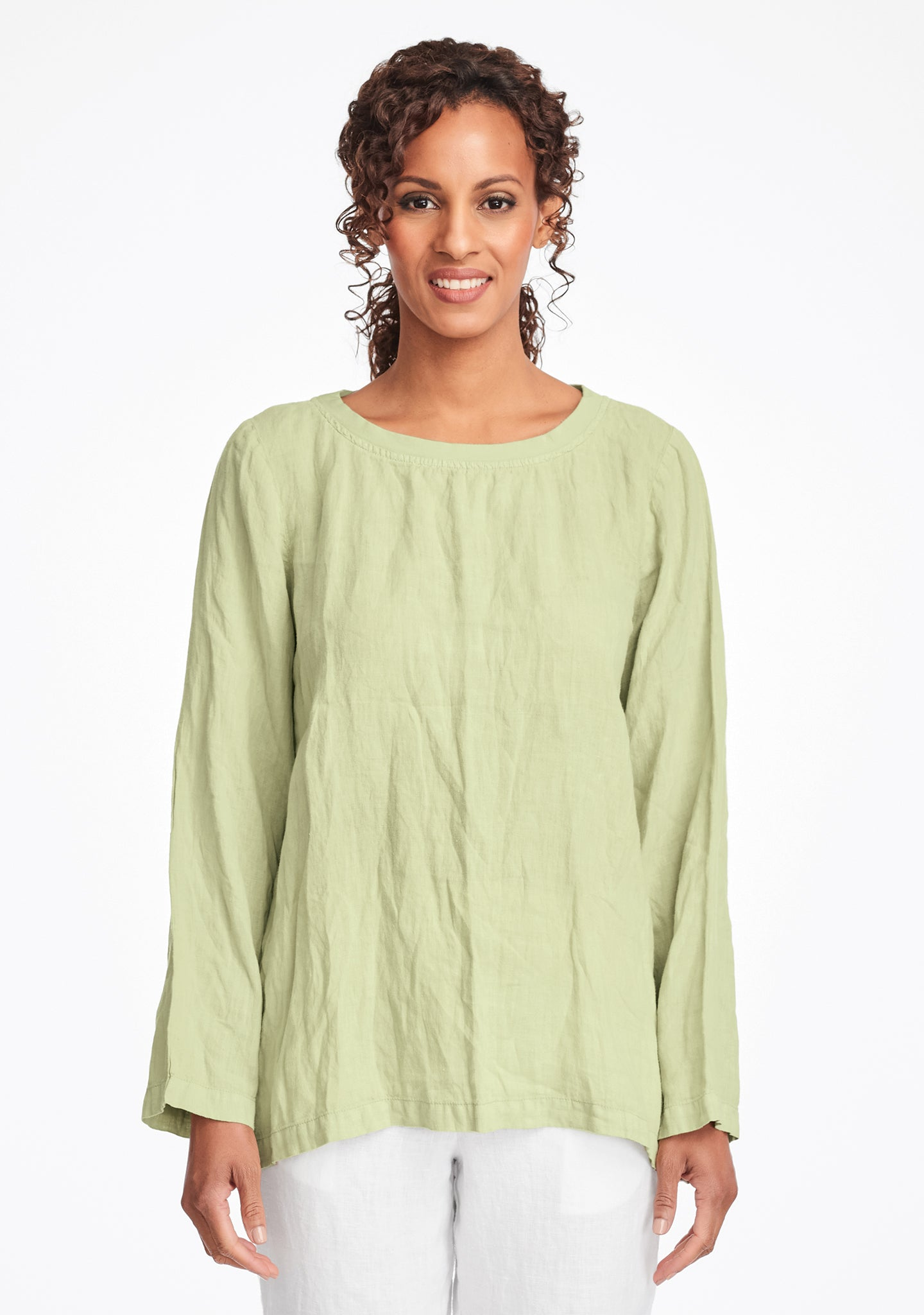 basecamp pullover long sleeve linen shirt green