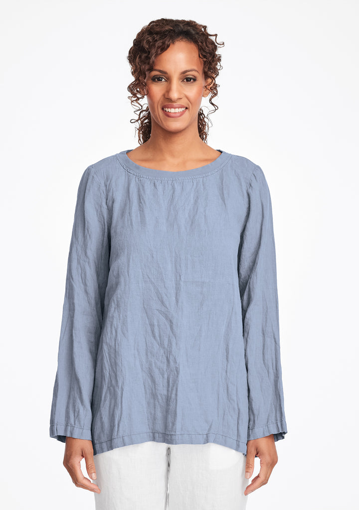 basecamp pullover long sleeve linen shirt blue