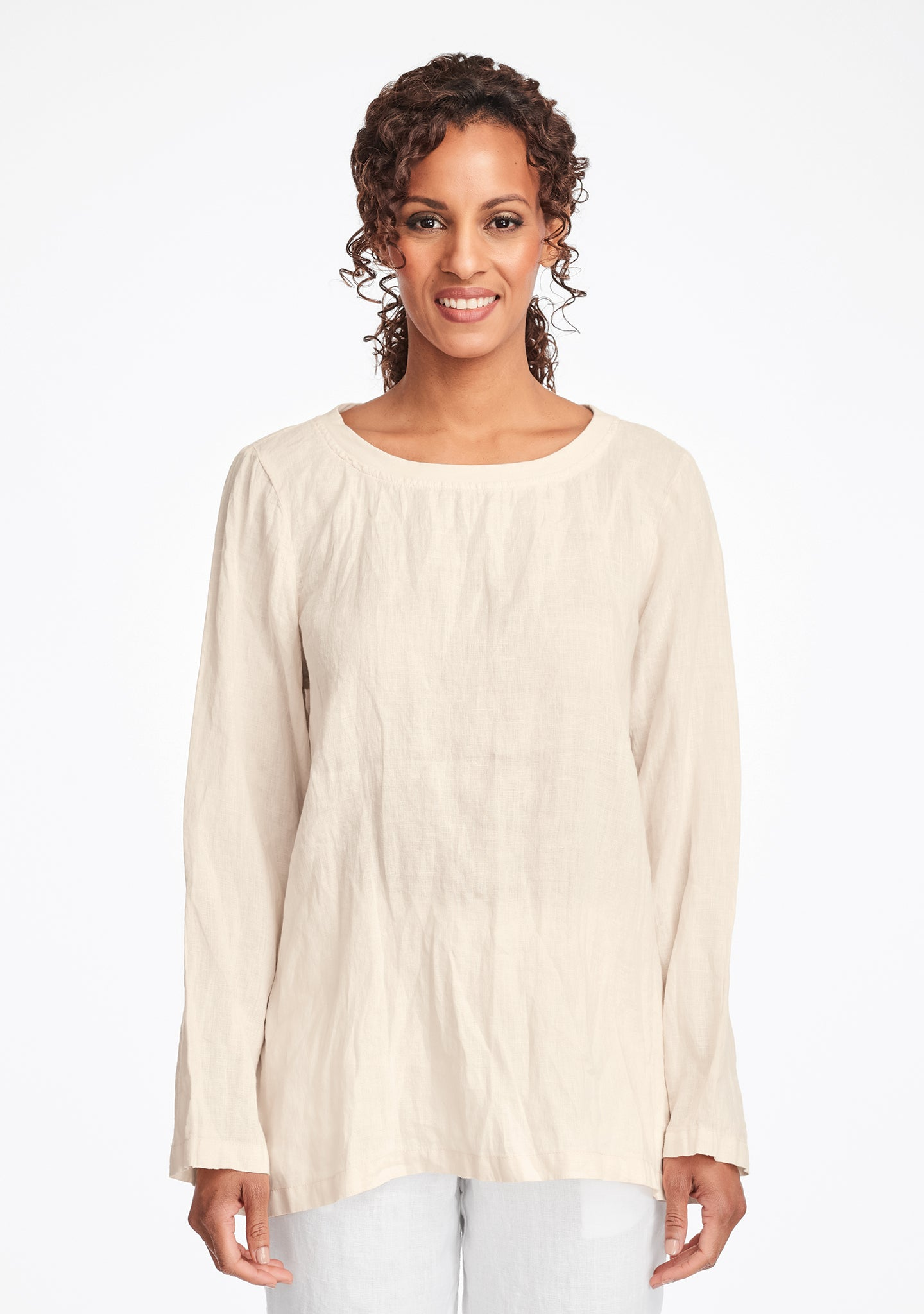 basecamp pullover long sleeve linen shirt white