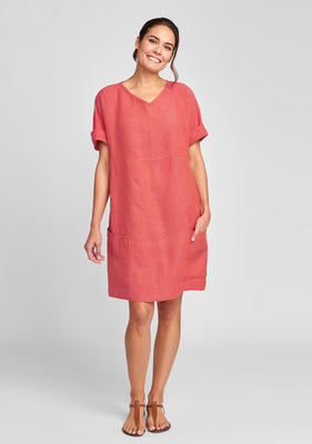 beachcomber linen dress red
