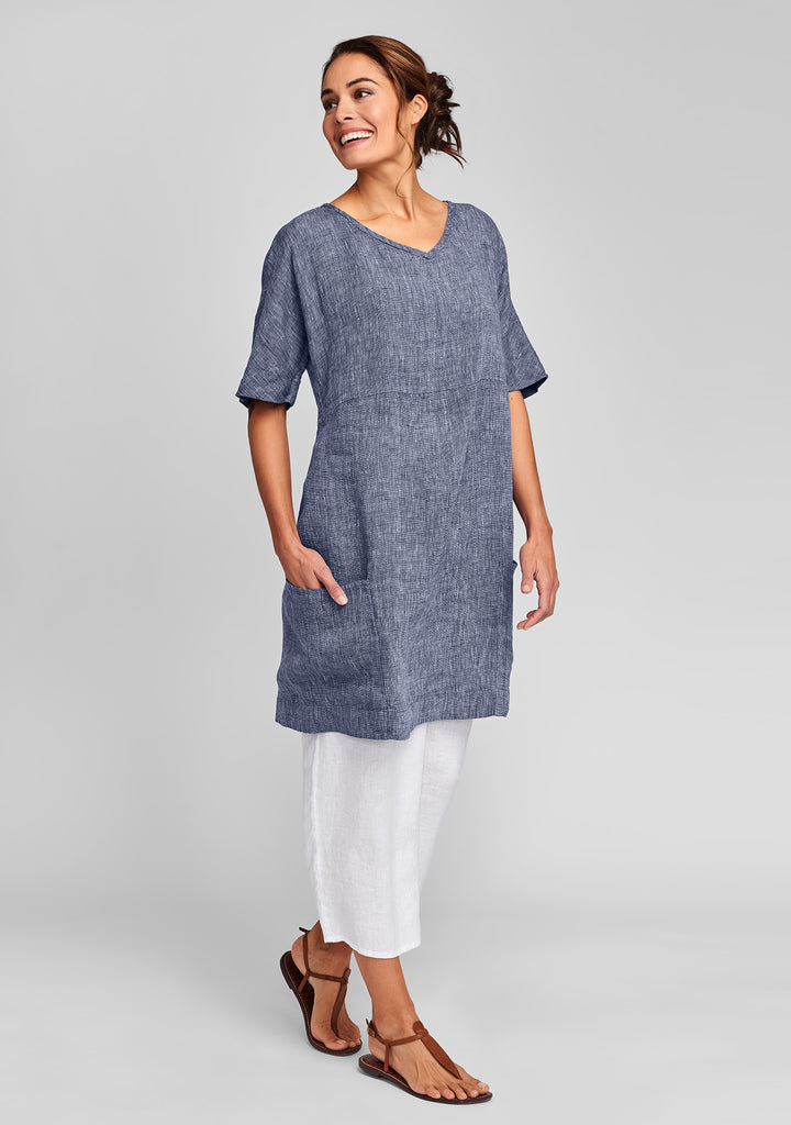 beachcomber linen dress blue