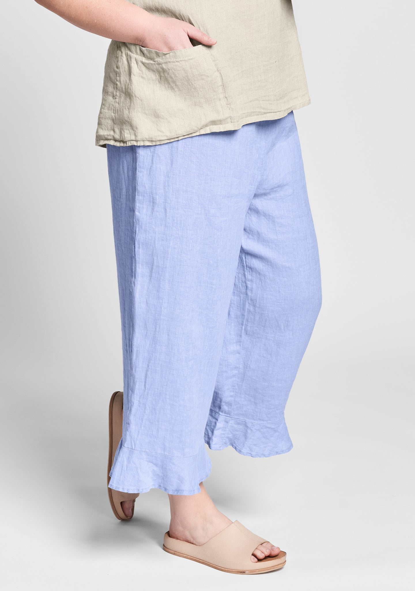 bedskirt bloomers linen pants with elastic waist blue