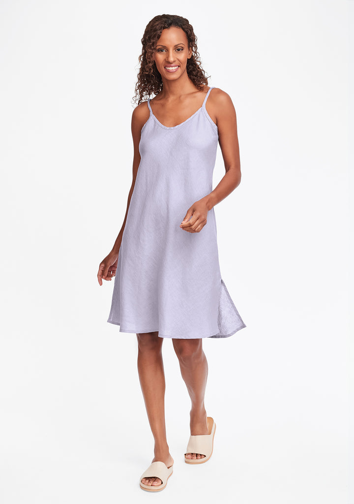 bias slip linen dress purple
