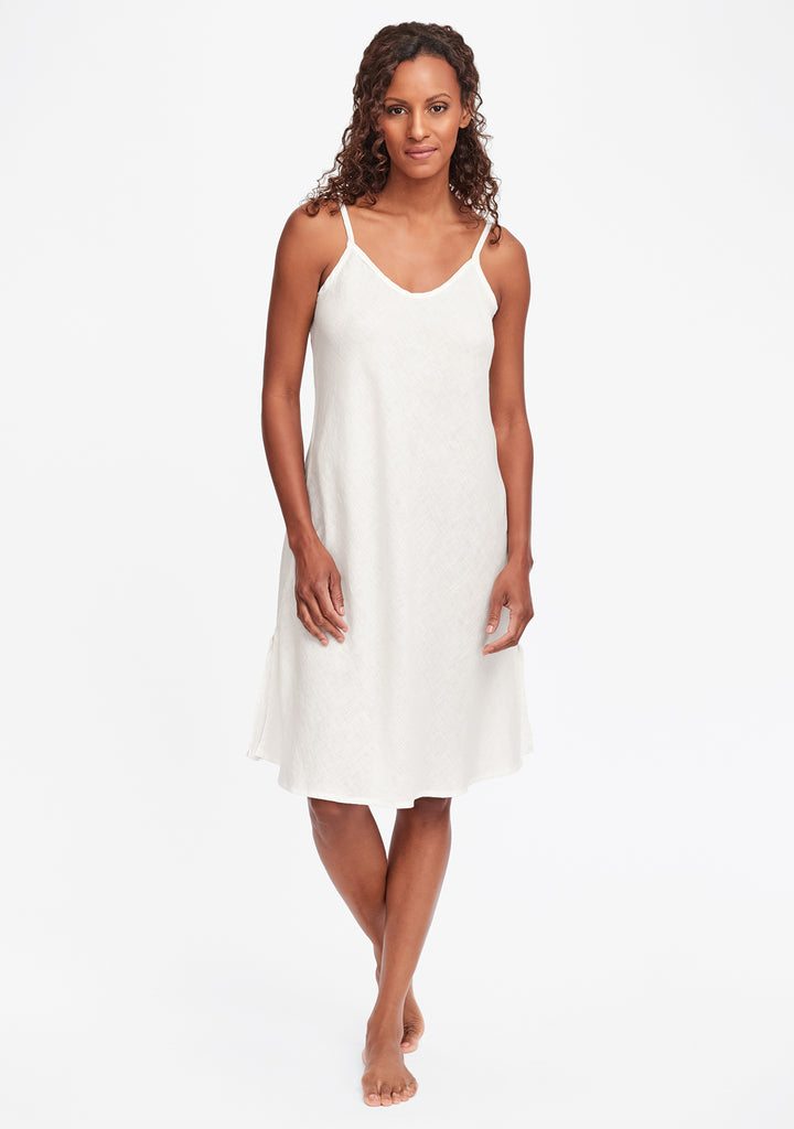 bias slip linen dress white
