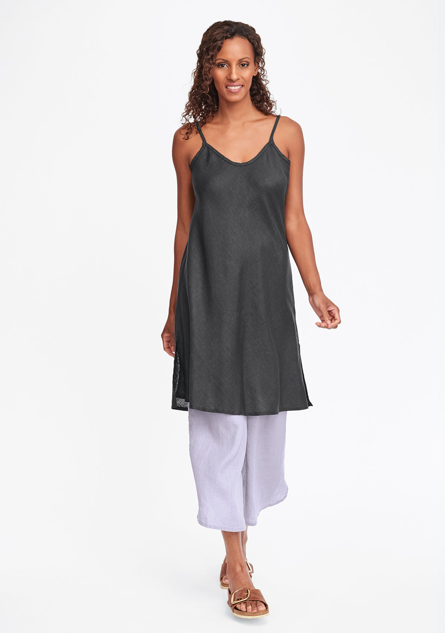 bias slip linen dress grey