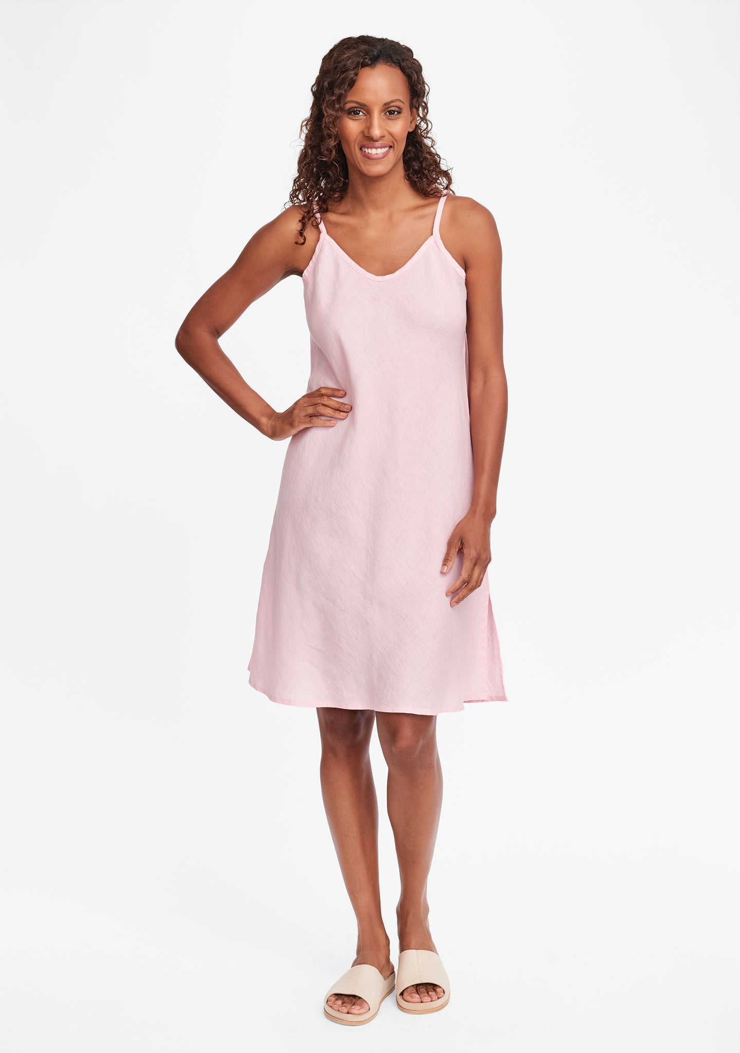 bias slip linen dress pink