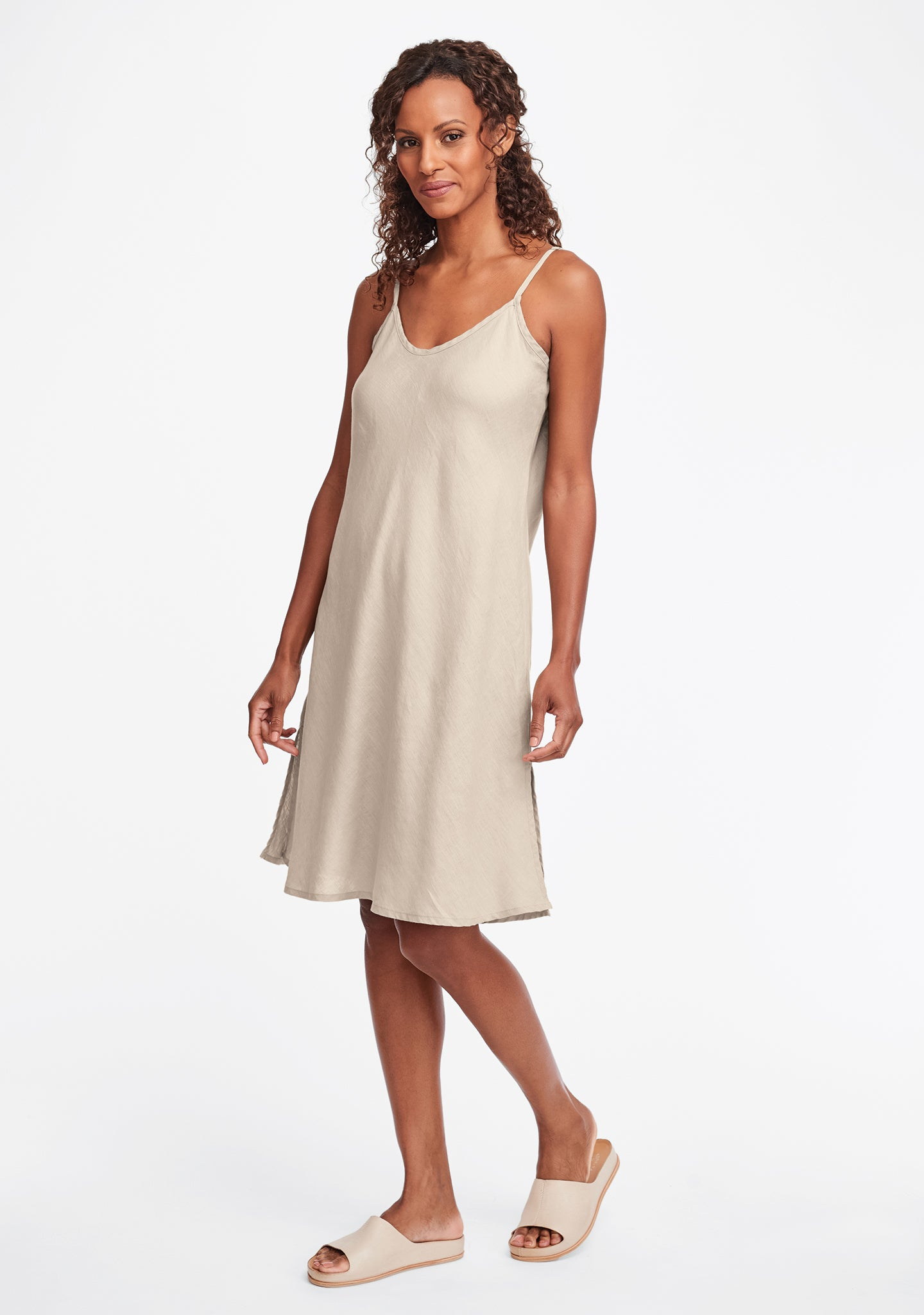 bias slip linen dress natural
