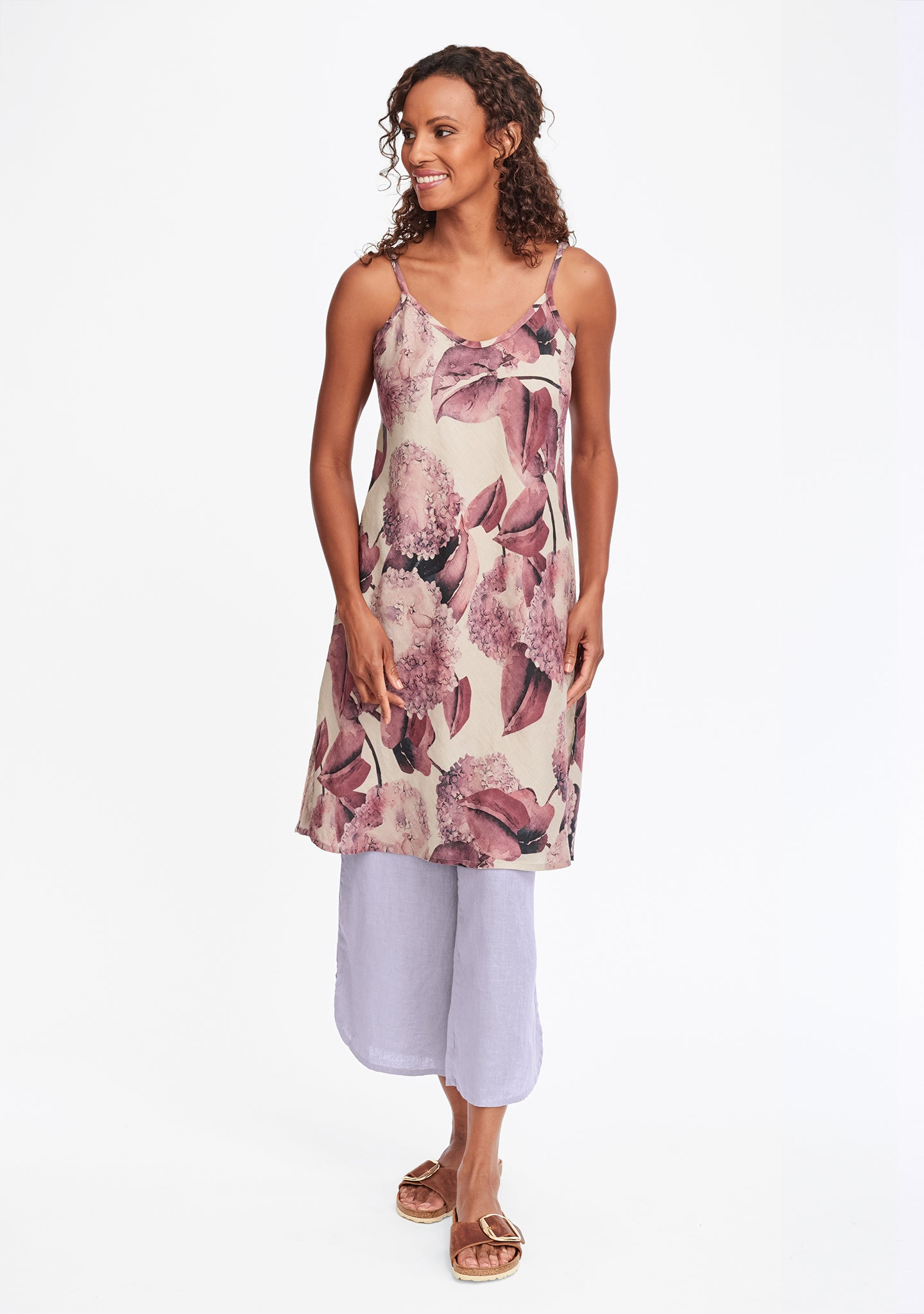 bias slip linen dress multi