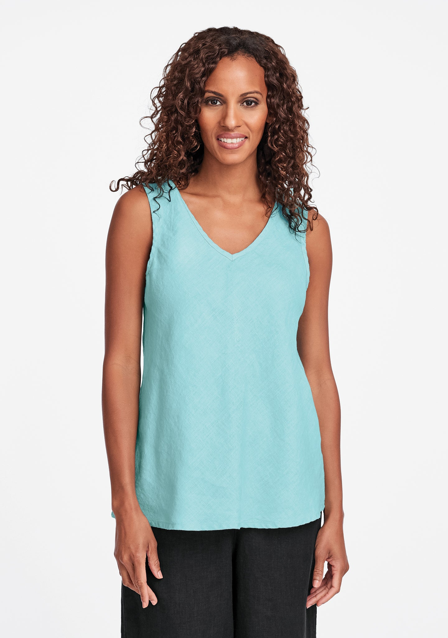 bias vee linen tank top blue