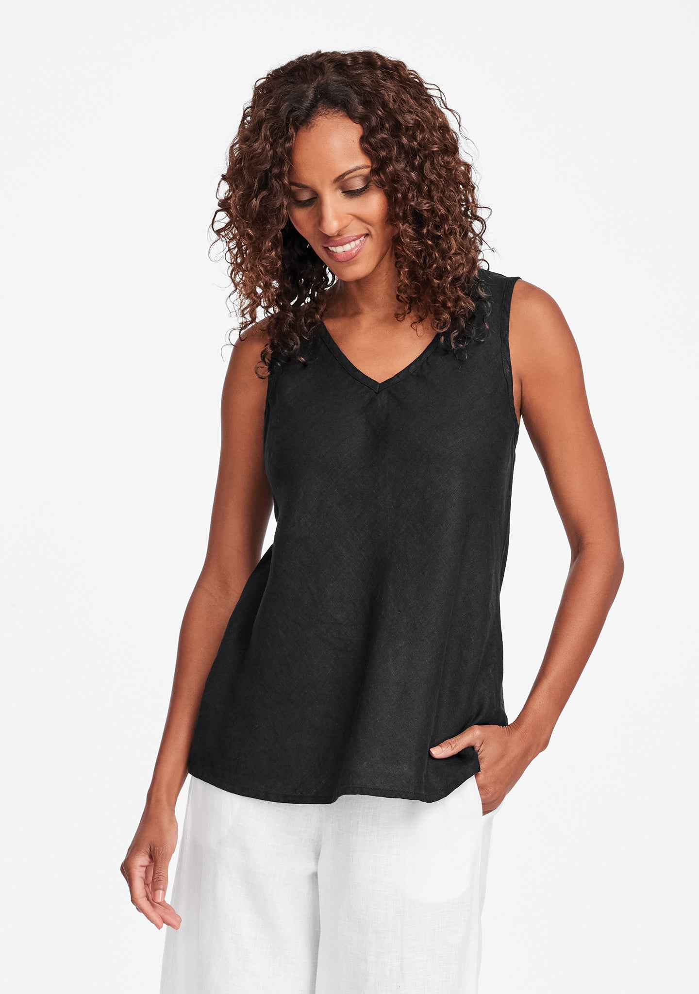 bias vee linen tank top black