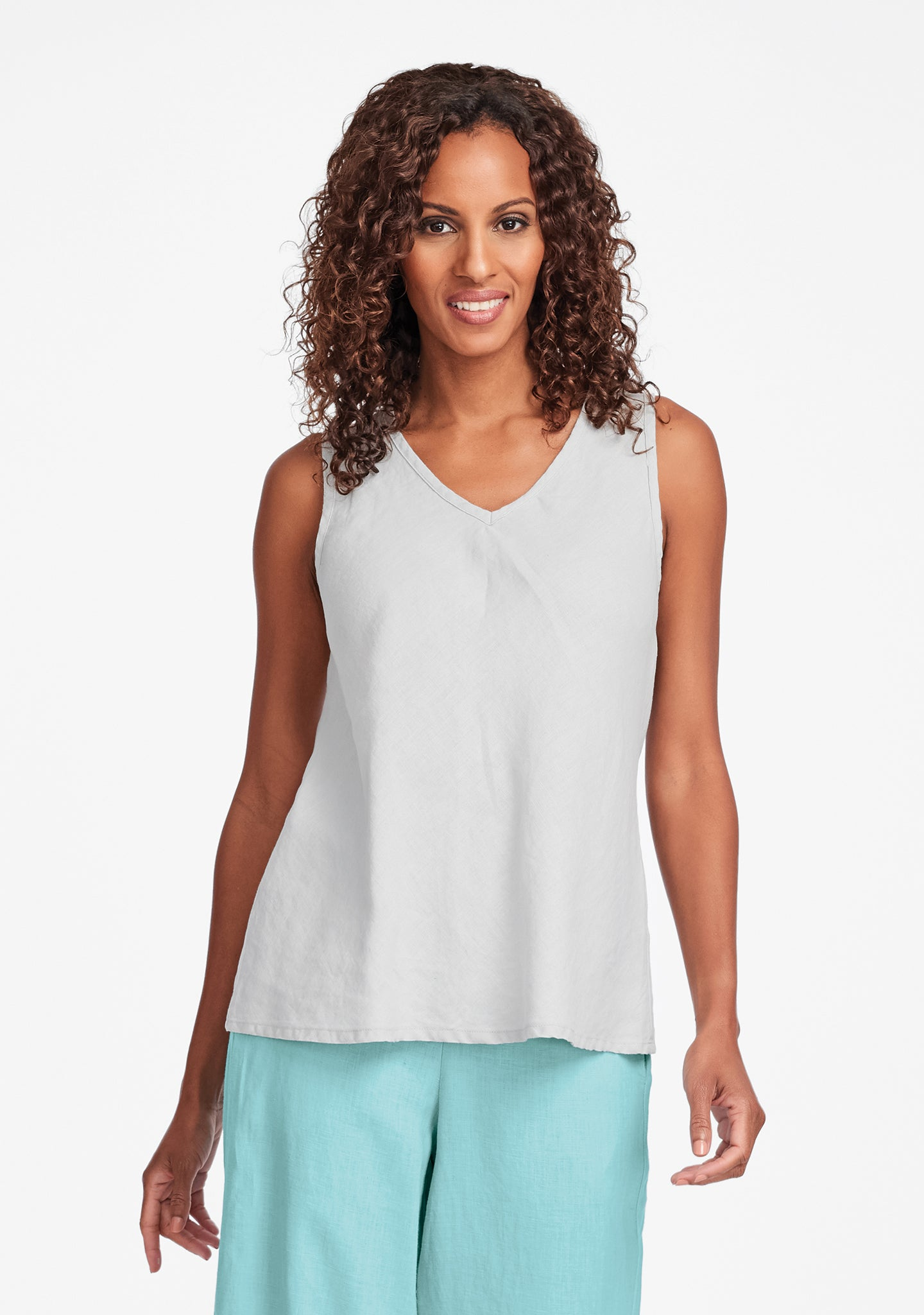 bias vee linen tank top grey