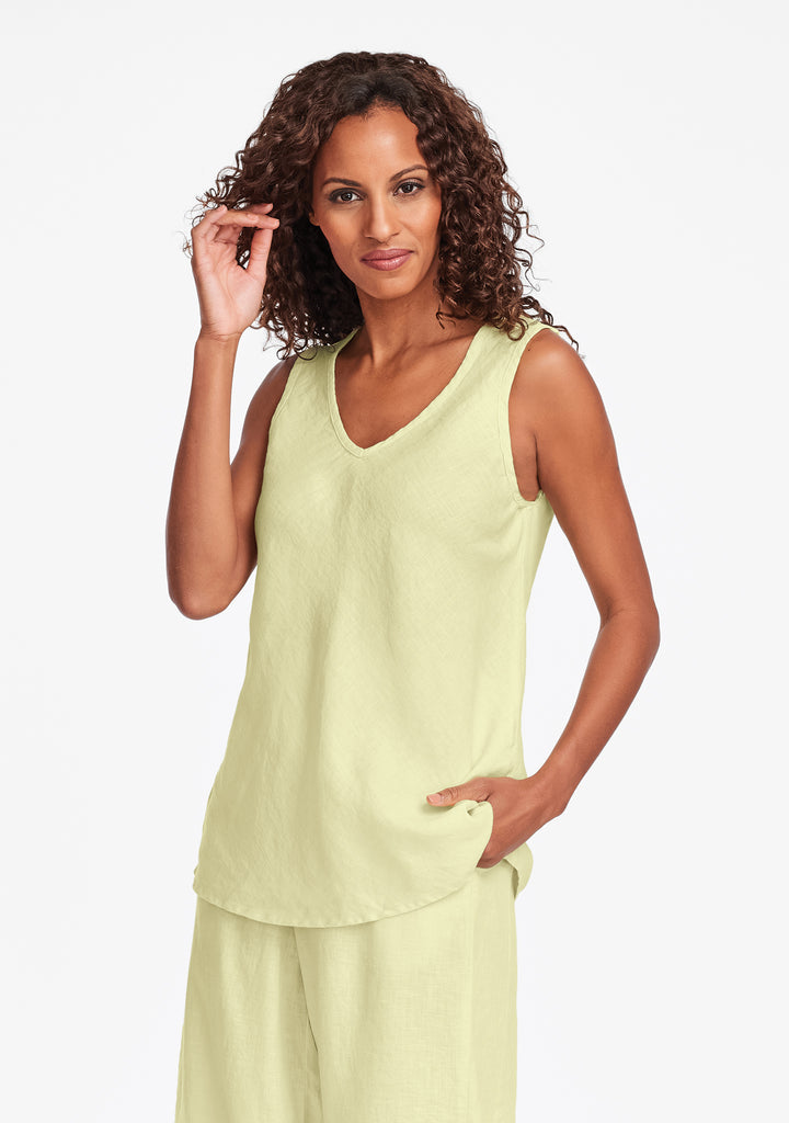 bias vee linen tank top yellow