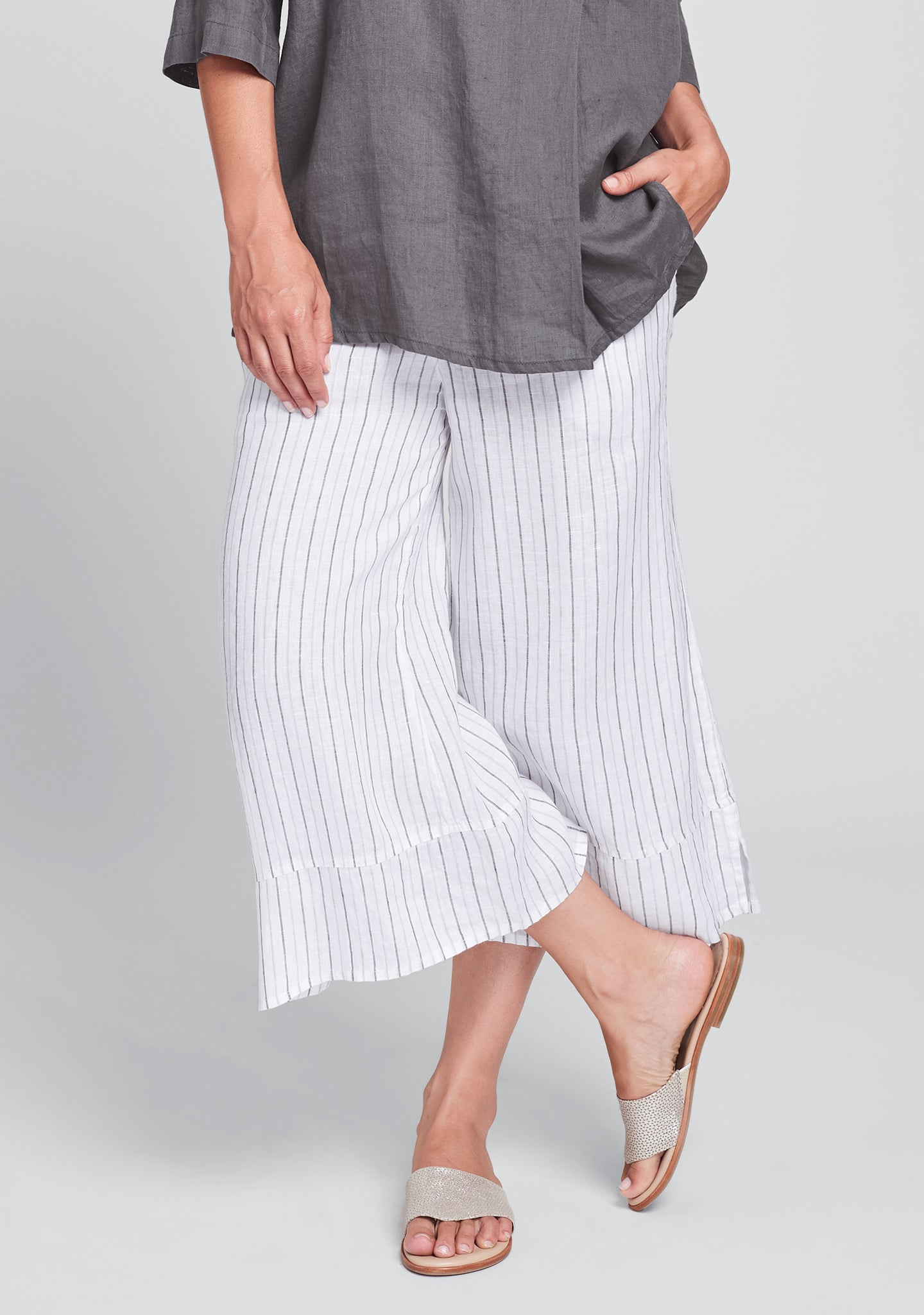 bloom pant linen pants with elastic waist grey
