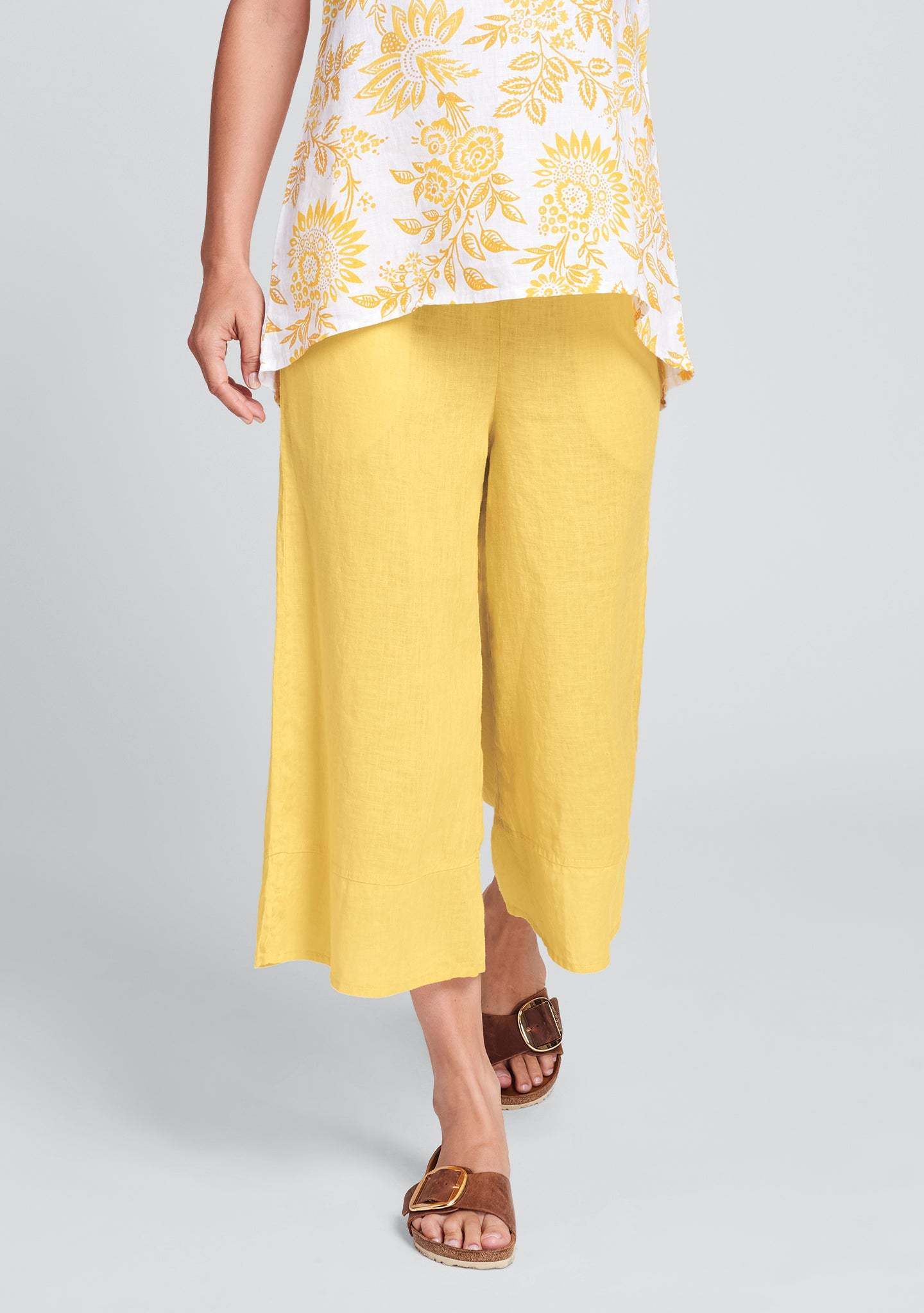 bloom pant linen pants with elastic waist yellow