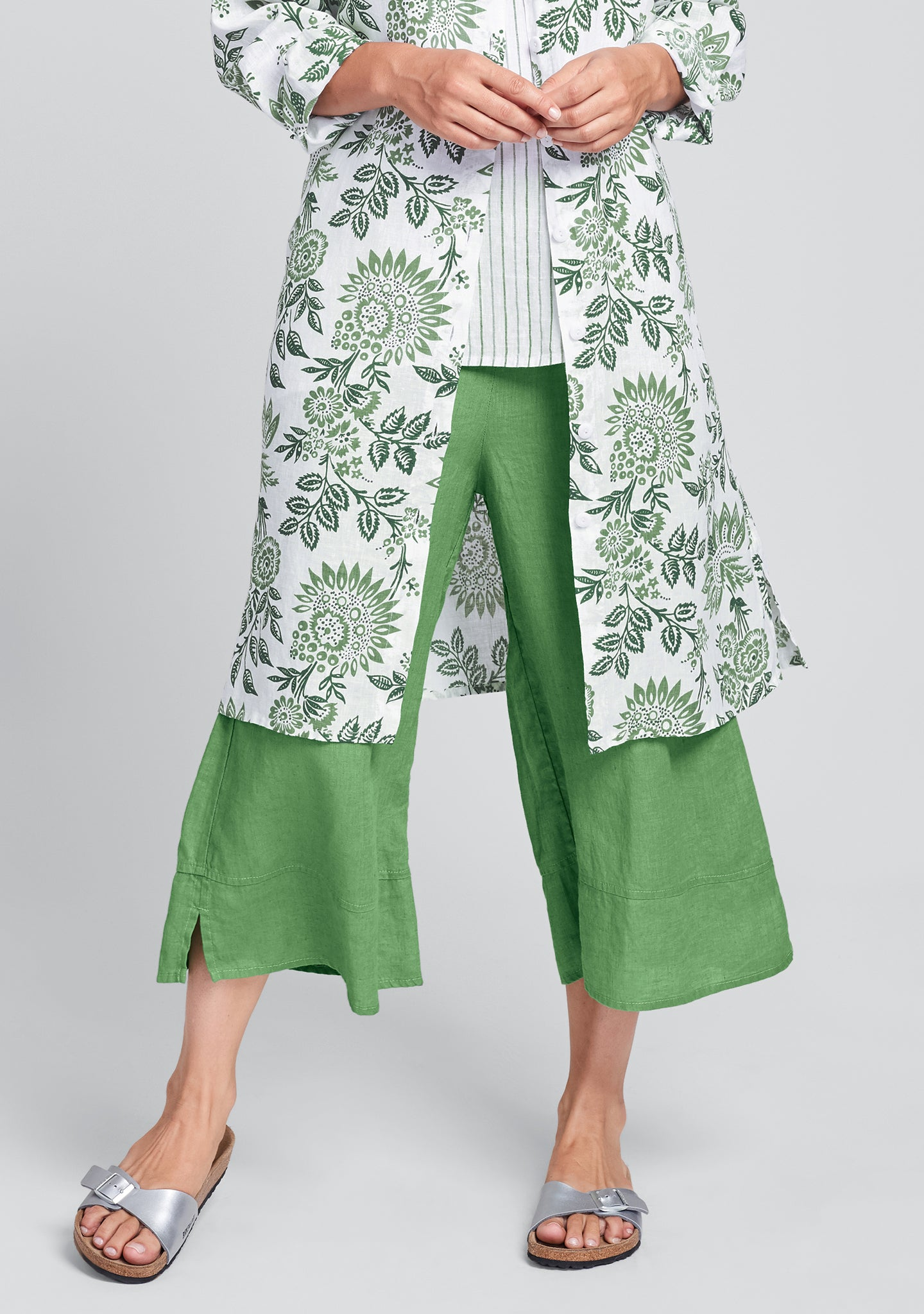 bloom pant linen pants with elastic waist green