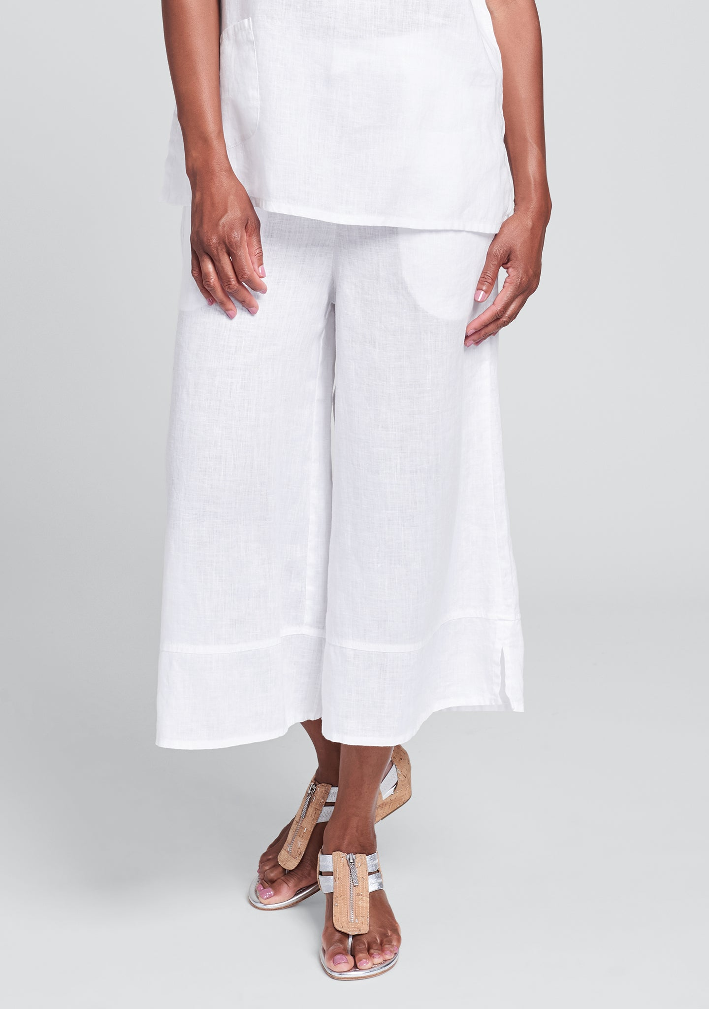 bloom pant linen pants with elastic waist white
