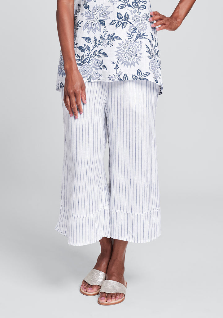 bloom pant linen pants with elastic waist blue